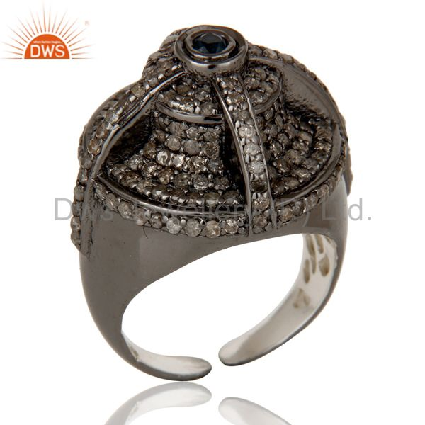 Victorian Estate Style Pave Diamond and Blue Sapphire Gemstone Silver Ring