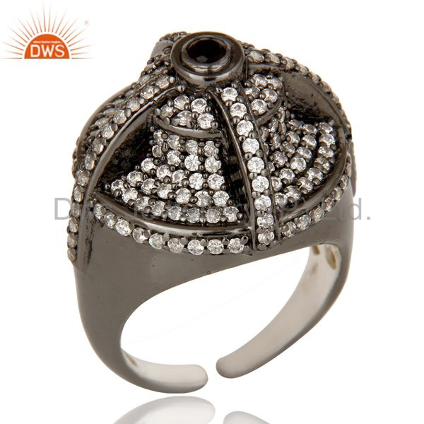 Victorian Estate Style Pave Set White CZ and Smokey Gemstone Silver Dome Ring
