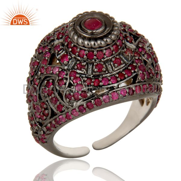 Pave Setting Ruby Birthstone Victorian Estate Style Gemstone Silver Ring