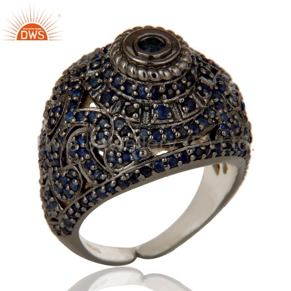 Pave Setting Blue Sapphire Victorian Estate Style Gemstone Silver Ring