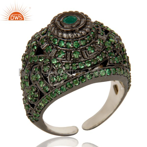 Pave Setting Tsavourite Emerald Victorian Estate Style Gemstone Silver Ring
