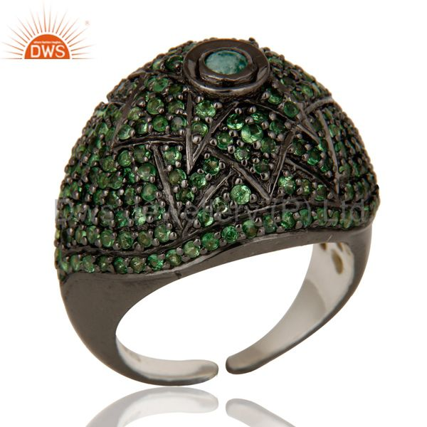 Victorian Estate Style Pave Setting Tsavourite Emerald Gemstone 925 Silver Ring