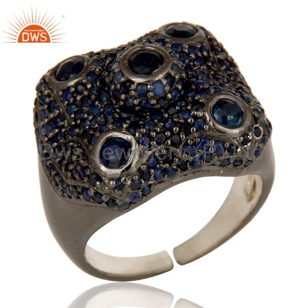 Pave Blue Sapphire Birthstone Victorian Estate Style Gemstone 925 Silver Ring