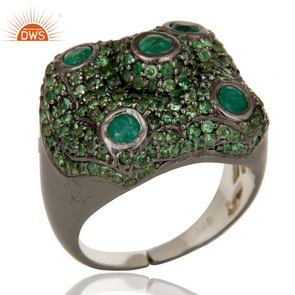 Pave Tsavourite Emerald Victorian Estate Style Gemstone 925 Silver Ring