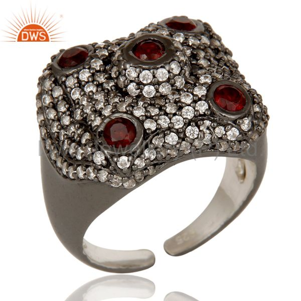 Pave Garnet and White Zircon Victorian Estate Style Gemstone 925 Silver Ring