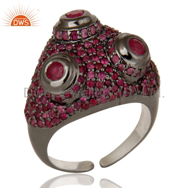 Pave Setting Ruby Birthstone Victorian Estate Style Sterling Silver Ring
