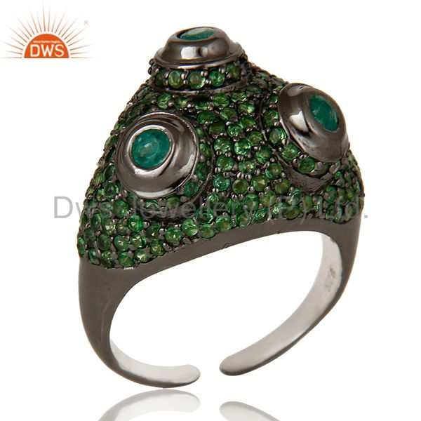 Pave Tsavourite and Emerald Victorian Estate Style Sterling Silver Ring