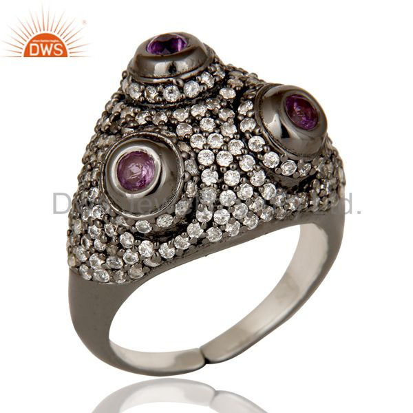 Amethyst and White Zircon Victorian Estate Style Sterling Silver Ring