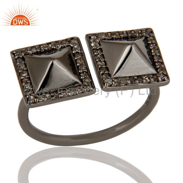 Pave Diamond Black Oxidized Sterling Silver Pyramid Shape Ring Statement Ring