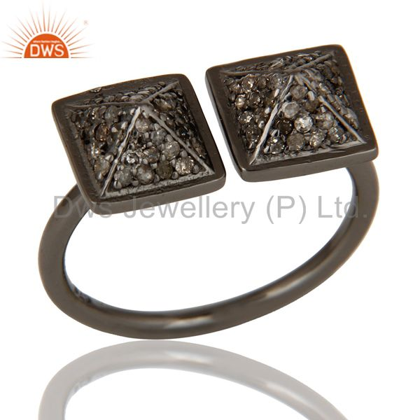 Black Oxidized Sterling Silver Pave Diamond Pyramid Shape Ring Statement Ring