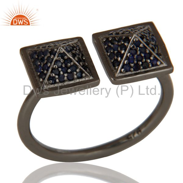Black Oxidized Sterling Silver Blue Sapphire Pyramid Shape Ring Statement Ring