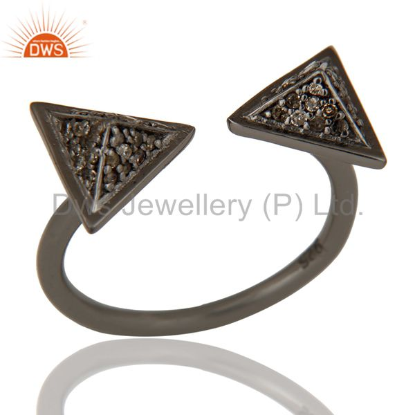Black Oxidized Pave Diamond Sterling Silver Pyramid Shape Ring Statement Ring