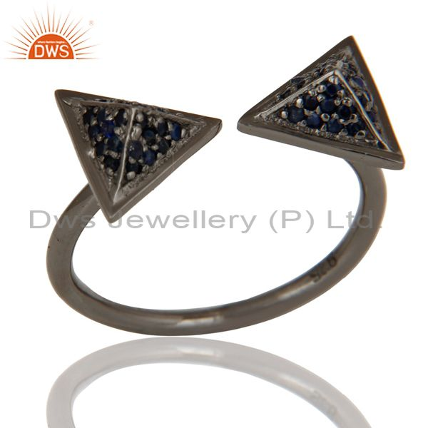 Black Oxidized Blue Sapphire Sterling Silver Pyramid Shape Ring Statement Ring