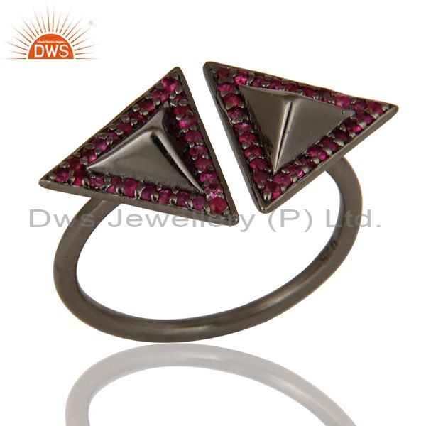 Natural Ruby Sterling Silver Black Oxidized Pyramid Shape Ring Statement Ring