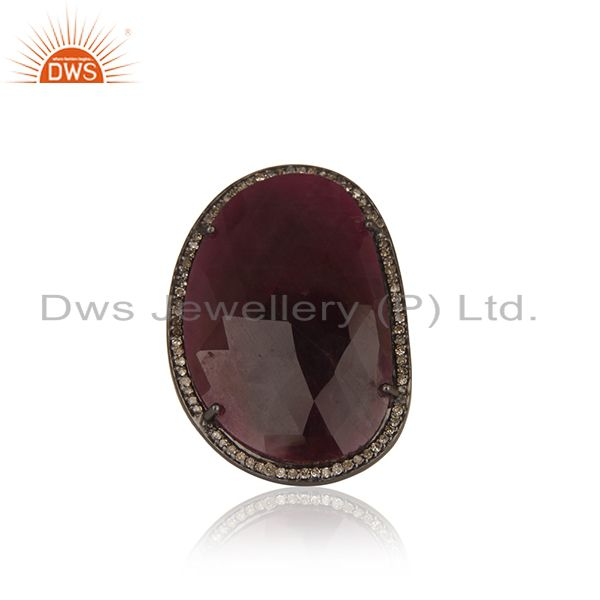 Natural Ruby and Pave Diamond Black Oxidized Sterling Silver Ring