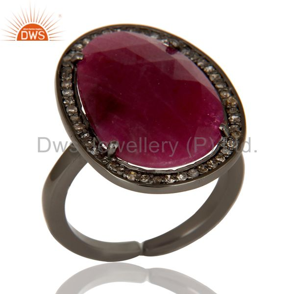 Pave Diamond and Natural Ruby Black Oxidized Sterling Silver Adjustable Ring