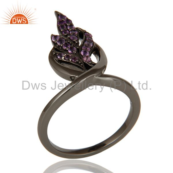Oxidized Sterling Silver and Amethyst Gemstone Ring Beautiful Designer Jewelry