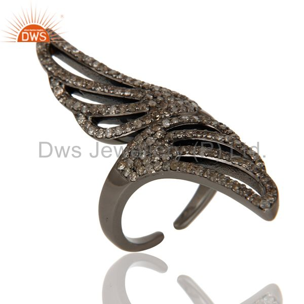 Pave Set Diamond Oxidized Sterling Silver Midi Ring