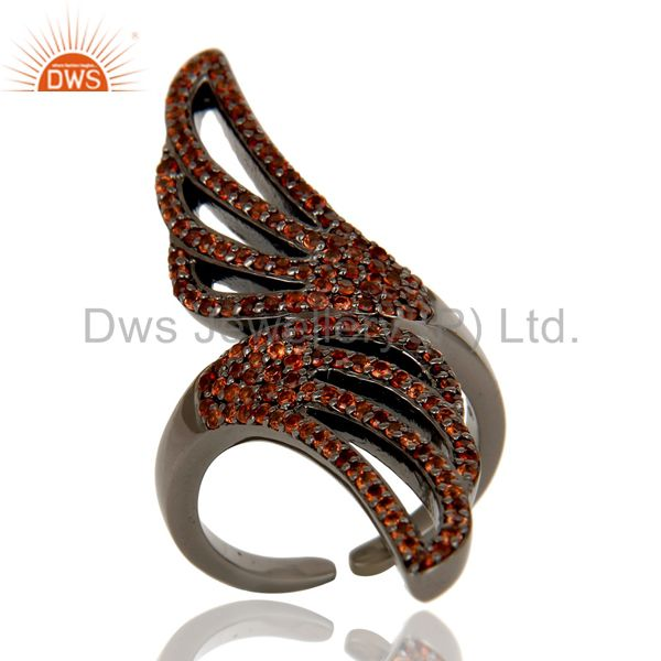 Pave Set Garnet Black Oxidized Sterling Silver Midi Ring