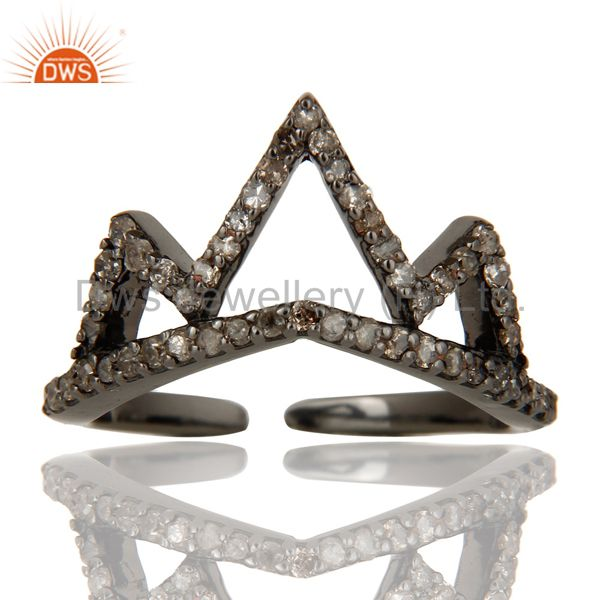 Diamond Sterling Silver Black Oxidized Crown Design Midi Ring