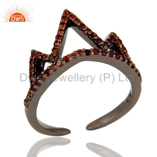 Garnet Sterling Silver Black Oxidized Crown Design Midi Ring