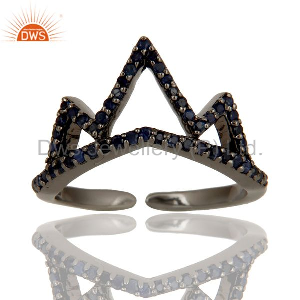 Blue Sapphire Sterling Silver Black Oxidized Crown Design Midi Ring