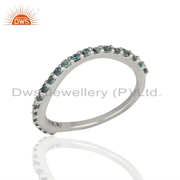 London Blue Topaz Solid 925 Silver Promise Band Ring Manufacturer