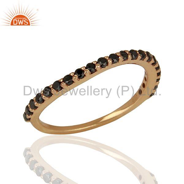 Rose Gold Plated Sterling Silver Black Zircon Gemstone Ring Wholesale
