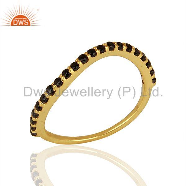 Gold Plated Silver Black Zircon Gemstone Girls Rings Jewelry Supplier