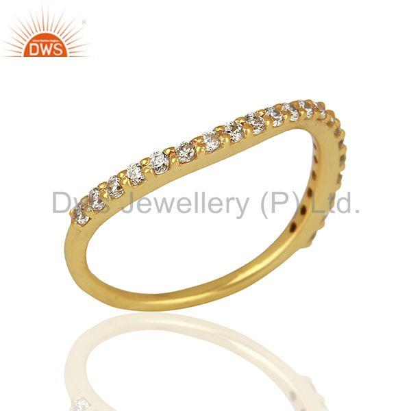 Zircon Gemstone Gold Plated 925 Silver Fashion Ring Manufacturer