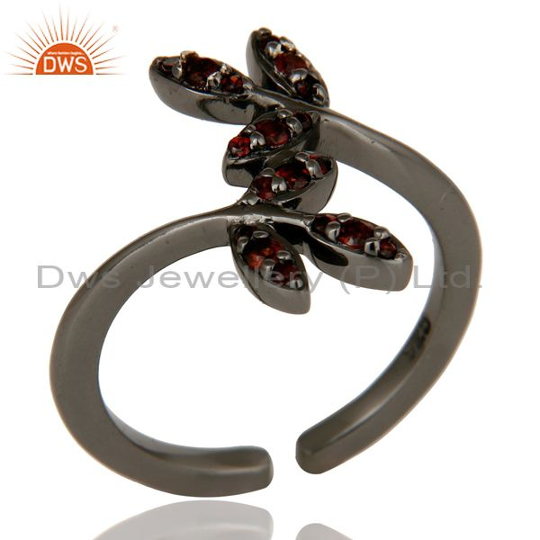 Pave Garnet Black Oxidized Solid Sterling Silver Midi Ring
