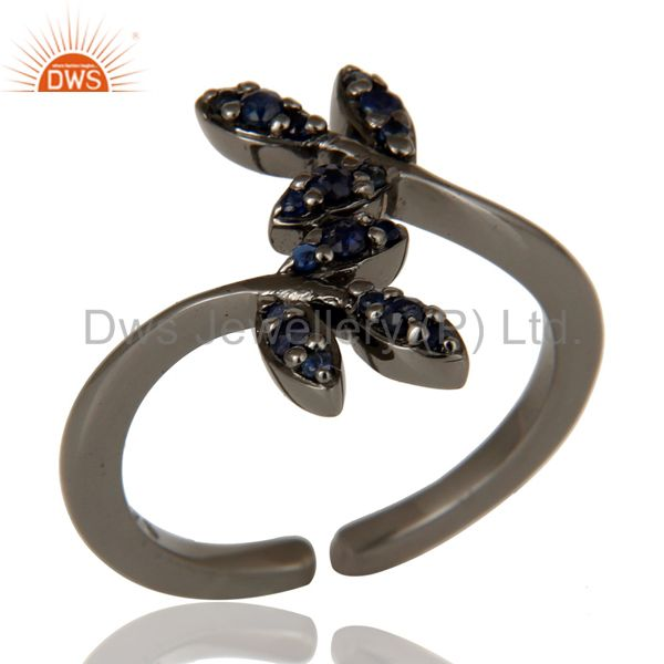 Blue Sapphire Black Oxidized Solid Sterling Silver Midi Ring
