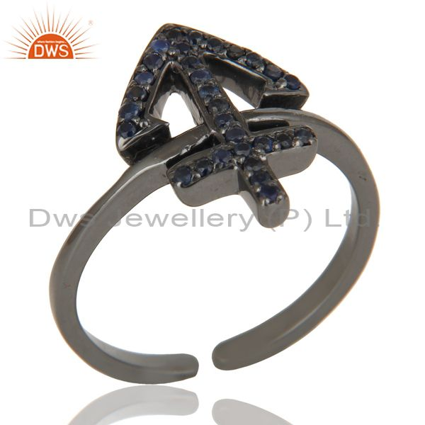 Black Oxidized Blue Sapphire Power Cross Sterling Silver Midi Ring