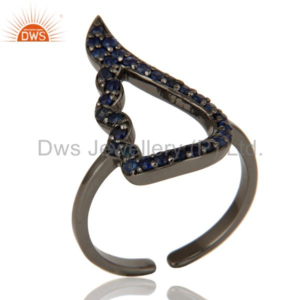 Blue Sapphire Black Oxidized Sterling Silver Midi Ring