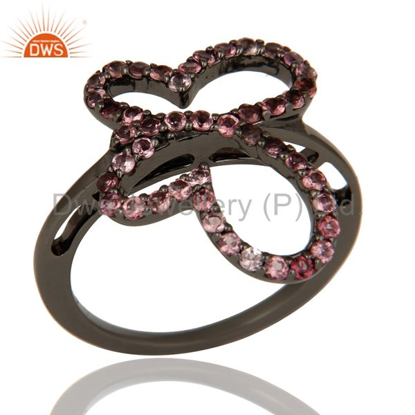 Pink Tourmaline and Black Oxidized Sterling Silver Butterfly Design Ring