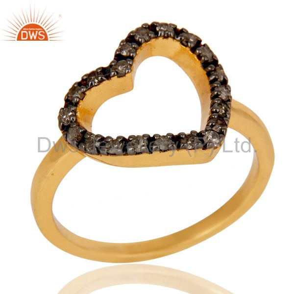 Stunning 18K Gold Plated 925 Sterling Silver Pave Diamond Heart Design Ring
