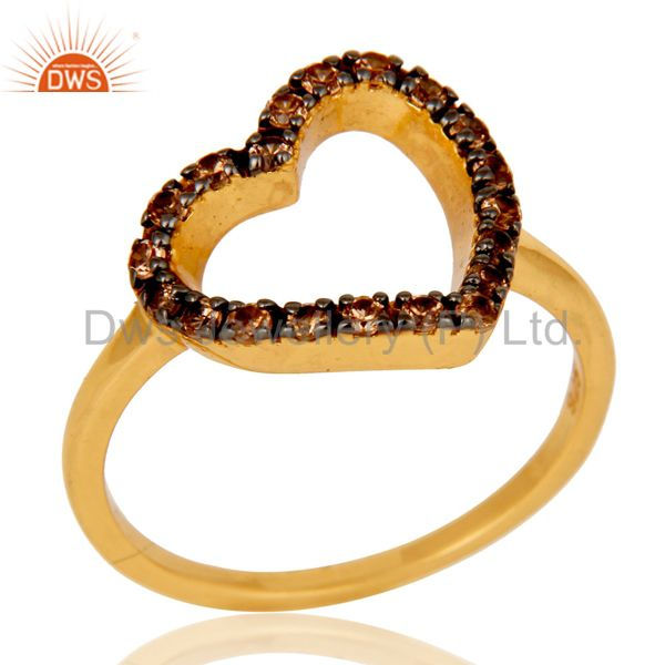 Spessartite 18K Gold Plated Sterling Silver Heart Shape Ring Love Ring