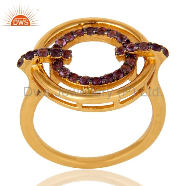 Amethyst 18K Gold Plated Sterling Silver Stylish Gemstone Ring