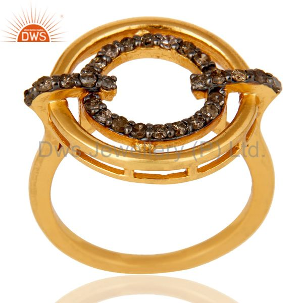 18K Gold Plated 925 Sterling Silver Pave Diamond Ring Party Wear Jewelry