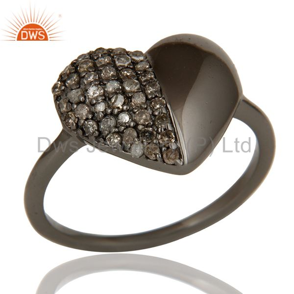 Diamond Heart Shape Black Oxidized Sterling Silver Love Ring