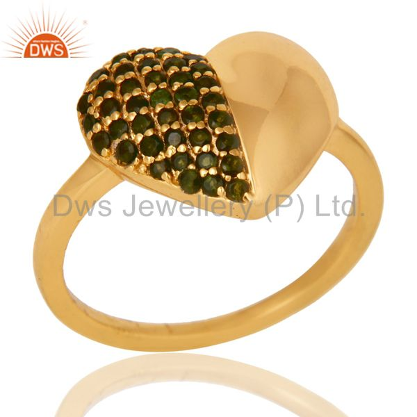 Heart Stylish 18K Gold Plated 925 Sterling Silver Green Tourmaline Ring Jewelry