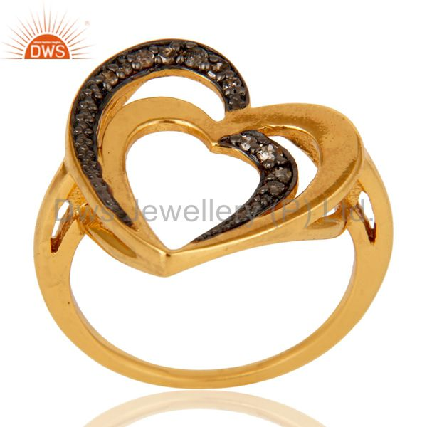Diamond 18K Gold Plated Heart Shape Sterling Silver Ring Love Jewelry