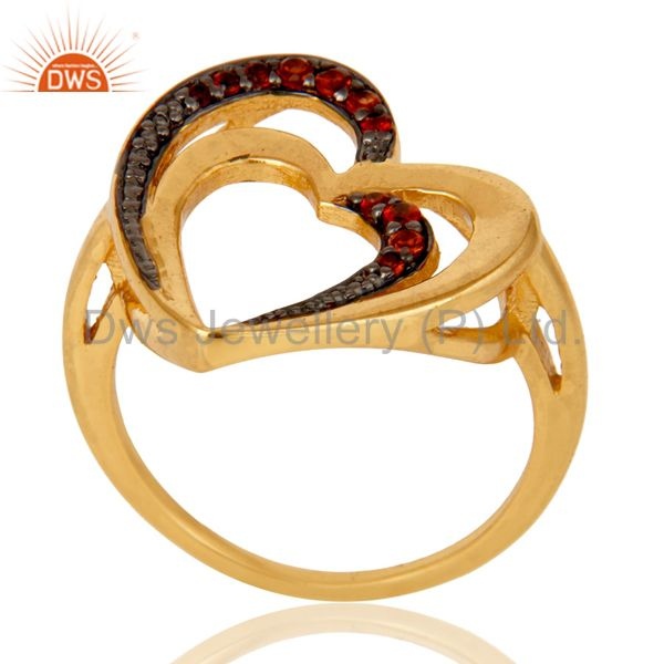 18K Gold Plated 925 Sterling Silver Natural Garnet Heart Design Ring Jewelry