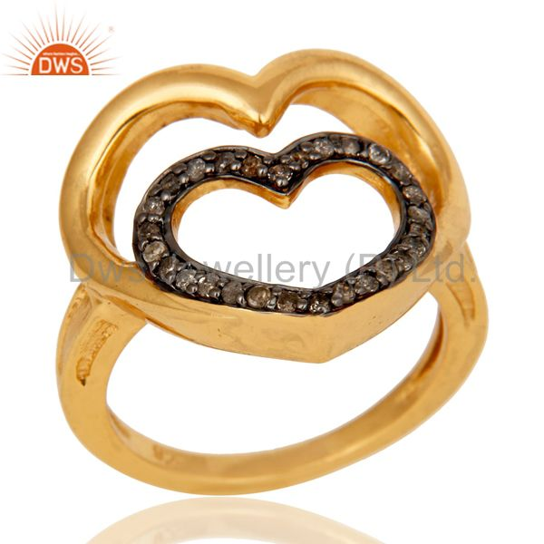 Heart Design 18K Gold Plated 925 Sterling Silver Pave Diamond Ring Jewelry