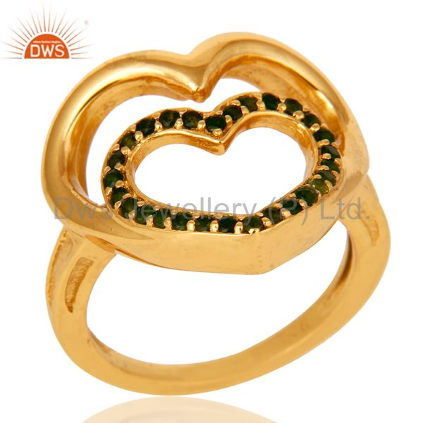 18K Gold Plated Sterling Silver Green Tourmaline Heart Shape Ring Love Sign Ring