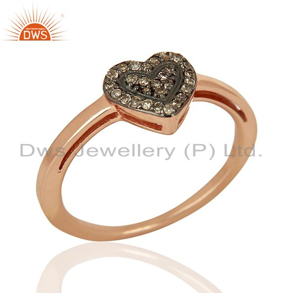 Heart Shape Rose Gold Plated Pave Diamond Ring Supplier Jewelry