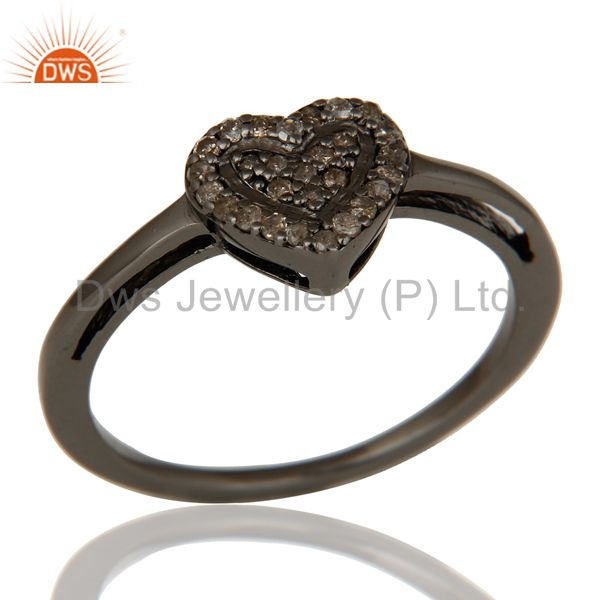 Diamond Heart Shape Love Ring Black Oxidized Sterling Silver Ring