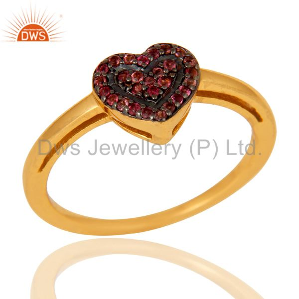 18K Gold Plated 925 Sterling Silver Pink Tourmaline Ring Heart Design Jewelry