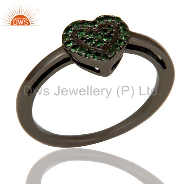 Tsavourite Heart Shape Love Ring Black Oxidized Sterling Silver Ring