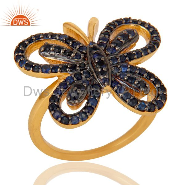 18K Gold Plated Sterling Silver Blue Sapphire Butterfly Designer Ring